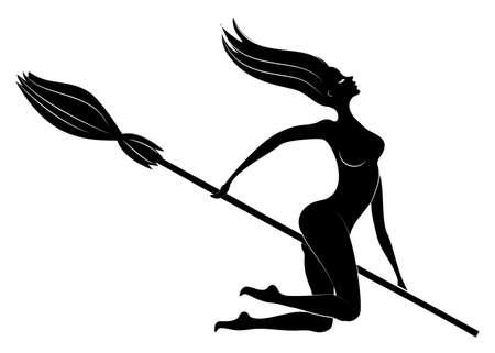Fantastischer Charakter aus einem Märchen, Mädchenhexe. Frau fliegt an Halloween auf einem Besen. Nackte Dame. Vektor-Illustration. Vektorgrafik