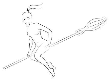 Fantastisch personage uit een sprookje, meisjesheks. Vrouw vliegt op een bezemsteel op Halloween. Naakte dame. Vector illustratie.