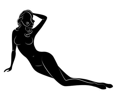 Siluetta di una signora graziosa dolce. La ragazza ha una bella figura snella. La donna sta camminando. Illustrazione vettoriale.