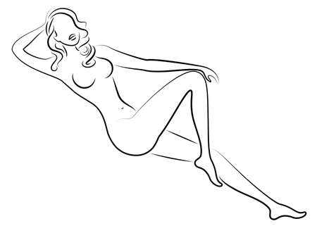 Silhouette of a sweet lady. The girl has a beautiful slim figure. The woman lies. Graphic image. Vector illustration.
