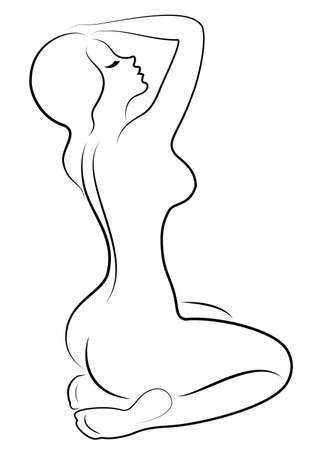 Silueta de una dulce dama agraciada. La niña tiene una hermosa figura delgada. La mujer camina. Ilustración de vector. Ilustración de vector