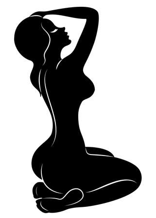 Silhouette of a sweet graceful lady. The girl has a beautiful slim figure. The woman is walking. Vector illustration.