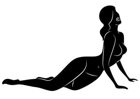 Silhouet van een lieve dame. Het meisje heeft een mooi slank figuur. De vrouw liegt. Grafisch beeld. Vector illustratie.