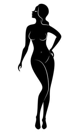 Silhouette einer süßen stehenden Dame. Das Mädchen hat eine schöne schlanke Figur. Vektor-Illustration.