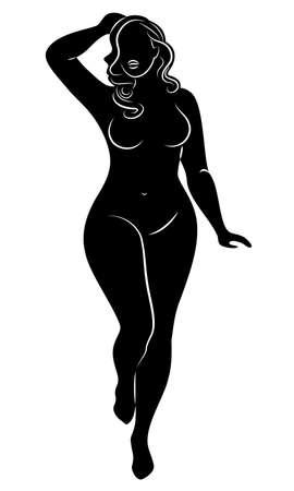 Siluetta della figura di una grande donna. La ragazza è in piedi. La donna è sovrappeso, è bella e sexy. Illustrazione vettoriale.