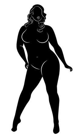 Silhouette einer großen Frauenfigur. Das Mädchen steht. Die Frau ist übergewichtig, sie ist schön und sexy. Vektor-Illustration.