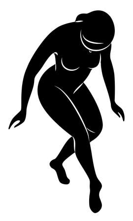 Silhouette of a cute lady. The girl crouches, makes a curtsy. The woman has a beautiful slim figure. Vector illustration.