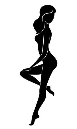 Silhouette of a sweet lady. The girl has a beautiful nude figure. A woman is a young sexy and slim model. Vector illustration.