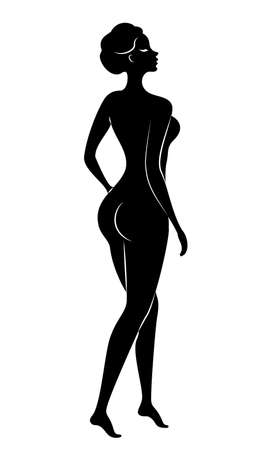 Silhouette of a sweet lady. The girl has a beautiful figure. A woman is a young and slim model. Vector illustration.