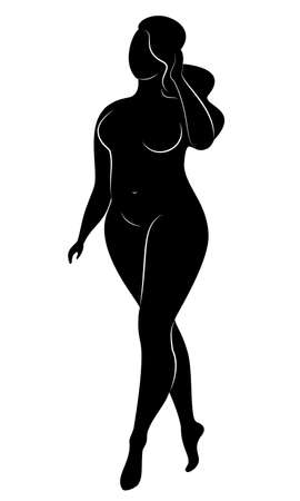 Silhouette of a big woman s figure. The girl is standing. The woman is overweight, she is beautiful and sexy. Vector illustration.
