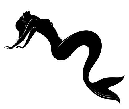 Silhouette of a fairy mermaid. Beautiful girl is sitting on a rock. The lady is young and slender. Vector illustration. Illustration