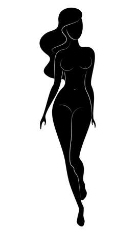 Silhouette of an elegant sweet lady. The girl has a beautiful slim figure. A woman is standing. Vector illustration.