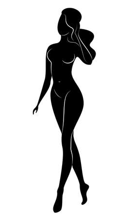 Silhouette of an elegant sweet lady. The girl has a beautiful slim figure. A woman is standing. Vector illustration. Illustration