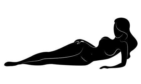 Silhouet van een lieve dame, ze liegt. Het meisje heeft een mooi figuur. Een vrouw is een jong en slank model. Vector illustratie. Vector Illustratie