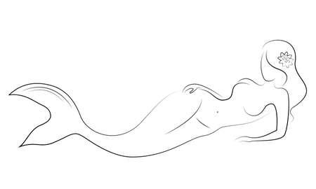 Silueta de una sirena. Hermosa chica está flotando en el agua. La dama es joven y delgada. Fantástica imagen de un cuento de hadas. Ilustración vectorial.