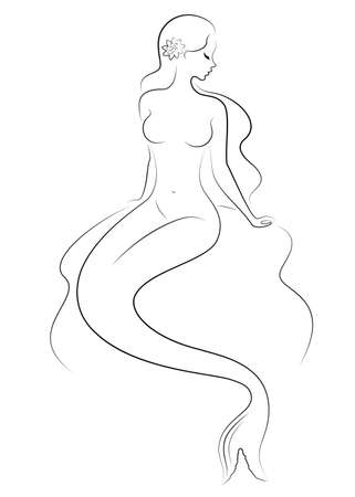 Silhouette of a fairy mermaid. Beautiful girl is sitting on a rock. The lady is young and slender. Vector illustration. Иллюстрация