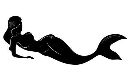 Silhouette einer feenhaften Meerjungfrau. Schönes Mädchen sitzt auf einem Felsen. Die Dame ist jung und schlank. Vektor-Illustration.