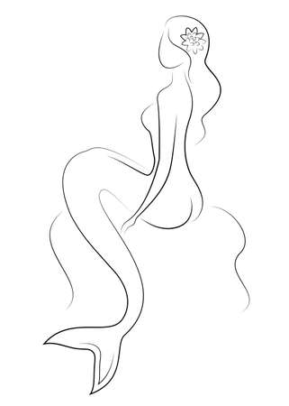 Silhouette of a fairy mermaid. Beautiful girl is sitting on a rock. The lady is young and slender. Vector illustration. Vectores