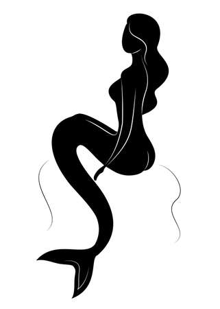 Silhouette of a fairy mermaid. Beautiful girl is sitting on a rock. The lady is young and slender. Vector illustration. Ilustração