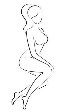 Silhouette d'une douce dame gracieuse. La fille a une belle silhouette mince. La femme marche. Illustration vectorielle.