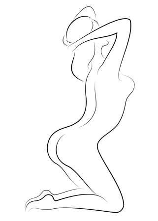Silhouet van een lieve sierlijke dame. Het meisje heeft een mooi slank figuur. De vrouw loopt. Vector illustratie.