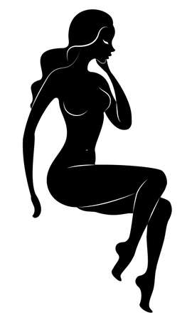 Silhouette of a sweet lady, she is sitting. The girl has a nude beautiful figure. A woman is a young sexy and slender model. Vector illustration.