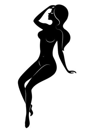 Silhouette of a sweet lady, she is sitting. The girl has a beautiful nude figure. A woman is a young sexy and slender model. Vector illustration. 矢量图像