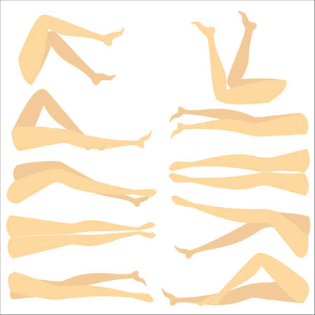 A colorful picture with silhouettes of slender beautiful female feet. Different forms of legs when the girl lies on her back and on her stomach. When he is sleeping and awake. Vector illustration.