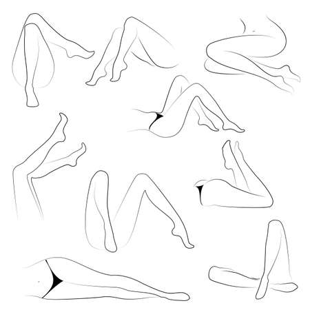 Collection. Picture with silhouettes of slender beautiful female feet. Different poses of legs when the girl sits, lies. Vector illustration set.