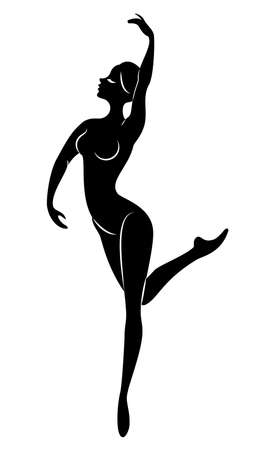 The silhouette of a cute lady, she is dancing ballet, circling fouette. Woman ballerina. The woman has a beautiful slim figure. Vector illustration.
