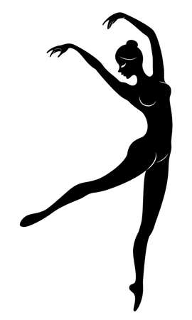 Silhouette of a cute lady, she is dancing ballet. The girl has a beautiful figure. Woman ballerina. Vector illustration.
