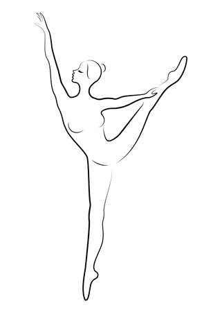 The silhouette of a cute lady, she is a dancing ballet circling fouette. The woman has a beautiful slim figure. Woman ballerina. Vector illustration. Ilustração