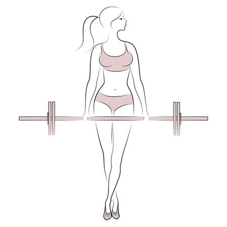 Silhouette of a sweet lady. The girl is engaged in fitness, raises the bar. The woman is young and slender, with a beautiful figure. Vector illustration.