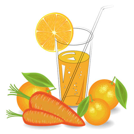 Delicious, healthy and medicinal drink. In a glass of natural vegetable juice ripe carrots and fruits orange, mandarin. A slice of citrus. Vector illustration.