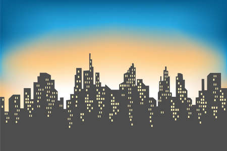 Silhouette of a big city against the background of a light morning sky. The rising sun illuminates everything. The city is reflected in the water. Beautiful landscape. Vector illustration. Illustration