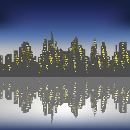 Silhouette of a big city against a background of a dark blue sky. The windows in the houses are lit. The city is reflected in the water. Beautiful landscape. Vector illustration. Illustration