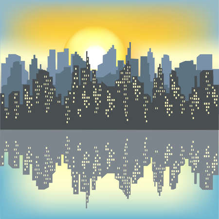 Silhouette of a big city against the background of a light morning sky. The rising sun illuminates everything. The city is reflected in the water. Beautiful landscape. Vector illustration. Ilustração