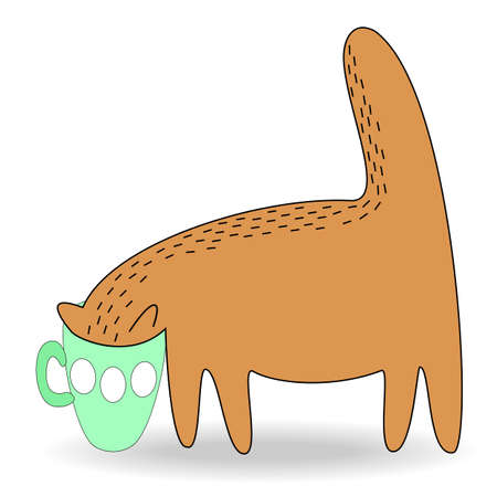 The cat stuck her head in the cup. Pet drinks. The animal is thick, red, sweet. Cartoon image of the animal. Vector illustration.