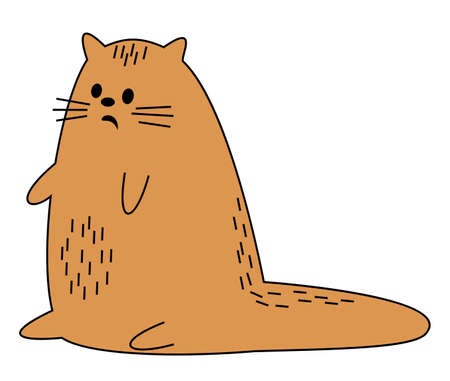 Cute red cat. The pet is sitting. The animal was scared. Cartoon image. Vector illustration.
