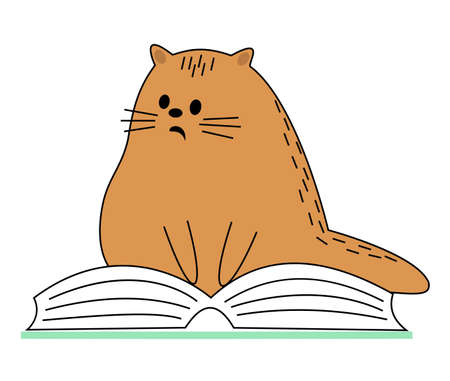 Cute red cat. Pet sitting on the book. The animal is reading and wondering. Cartoon image. Vector illustration.