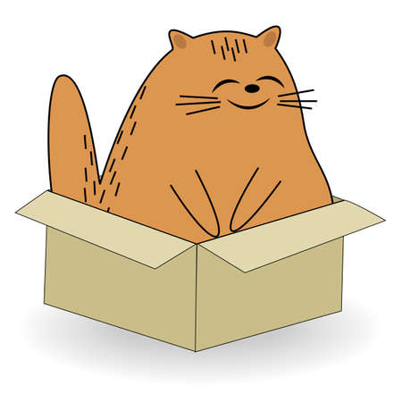 Cute red cat. Pet sits in the box. The animal is happy and smiling. Cartoon image. Vector illustration.