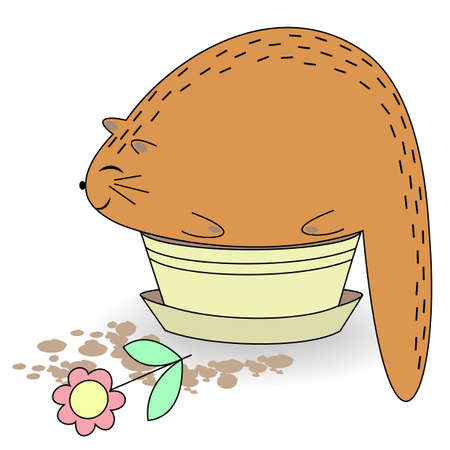 Cute red cat. The pet sits in a potty pot. Animal snatch and holds a flower. Cartoon image. Vector illustration.