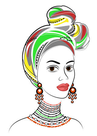 Silhouette of a head of a sweet lady. A bright shawl and a turban are tied on the head of an African-American girl. The woman is beautiful and stylish. Vector illustration. 向量圖像