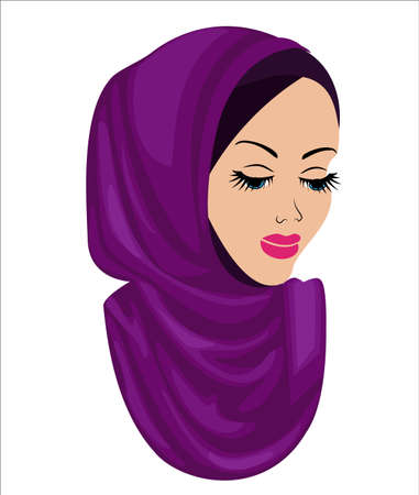 Silent head of a sweet lady. On the girl is a traditional Arabic Muslim female headdress, hijab. A young and beautiful woman. Vector illustration.
