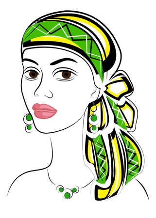 Silhouette of a head of a sweet lady. A bright shawl and a turban are tied on the head of an African-American girl. The woman is beautiful and stylish. Vector illustration. Ilustrace