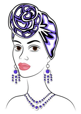 Siluetta di una testa di una dolce signora. Uno scialle luminoso e un turbante sono legati sulla testa di una ragazza afroamericana. La donna è bella ed elegante. Illustrazione vettoriale. Vettoriali