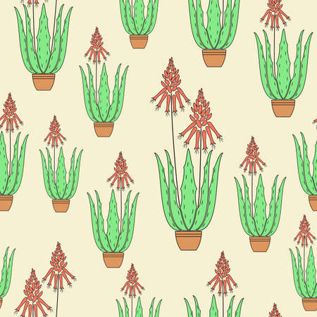 Aloe vera flower pot on a yellow background. Flowerpot blooms. Red flower scarlet. Beautiful texture. Gift wrap. Vector illustration.