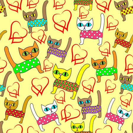 Seamless pattern. Bright cute kittens and loving hearts. Suitable as wallpaper in the childrens room, like packaging for a gift for Valentines Day. Creates a festive mood. Vector illustration. Ilustrace