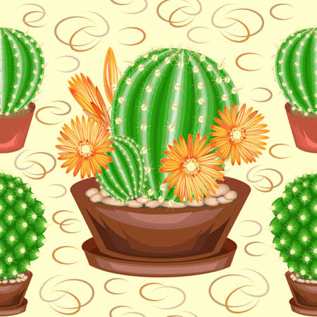 Cacti in pots on a green background. A seamless pattern. Suitable as wallpaper on, as a background for gift wrapping. Creates a cheerful mood. Vector illustration.