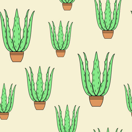 Aloe vera flower pot on yellow background. Graphic image. Nice picture. Gift wrap. Vector illustration. Ilustrace